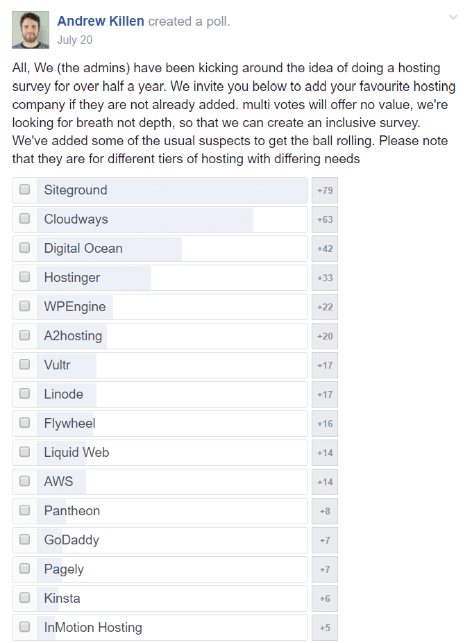 facebook poll for best web hosting