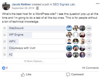WordPress Host Poll Sept 2018