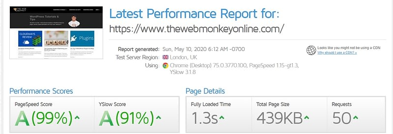 gtmetrix scores for web monkey blog