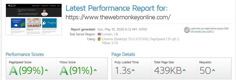 gtmetrix scores for web monkey blog