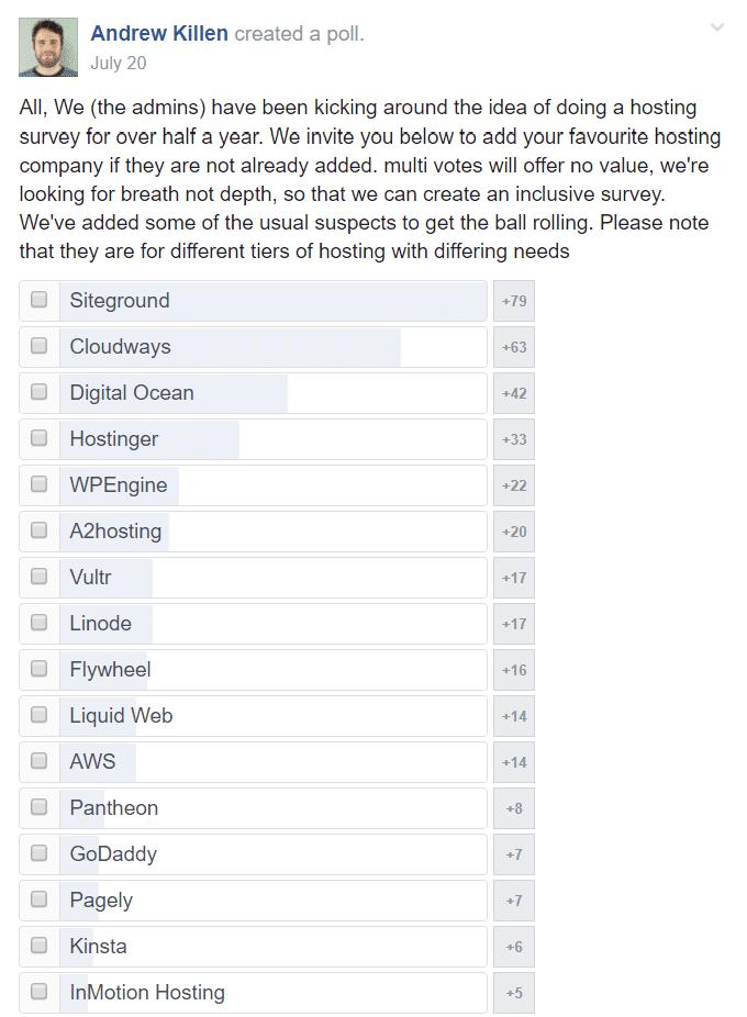 facebook poll for best web hosting